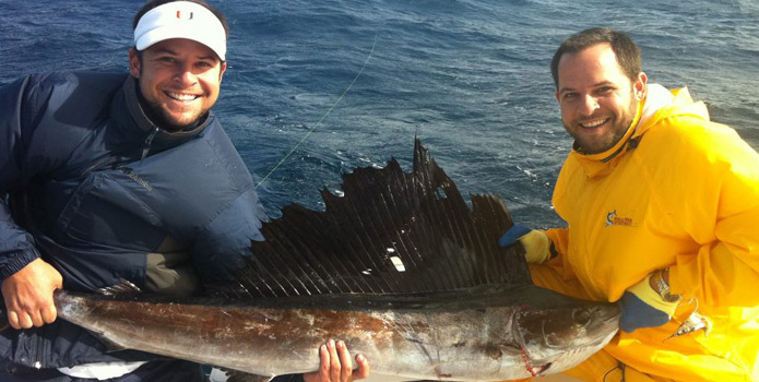 boca raton fishing charter boat catches a sailfish